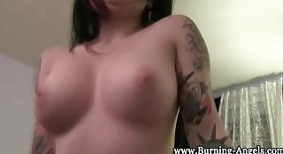 Emo whore sucks fat cock