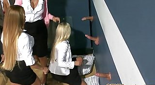 Classy cfnm milfs have fun at a glory hole