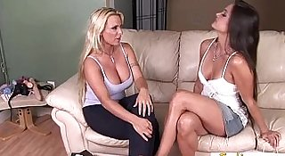 Lesbian milfs help each other cum with a couple of toys