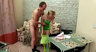 Teen chick gets corrupted by an old pervert