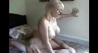 Blonde milf fucks young guy